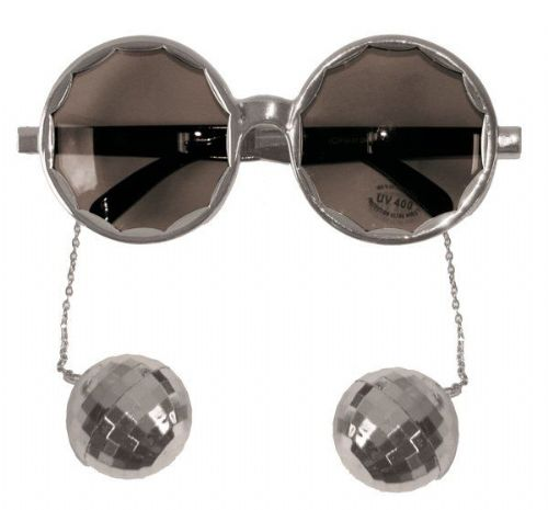 Party Glasses Disco Silver with Balls 70s Music Pop Travolta Boogie Nights